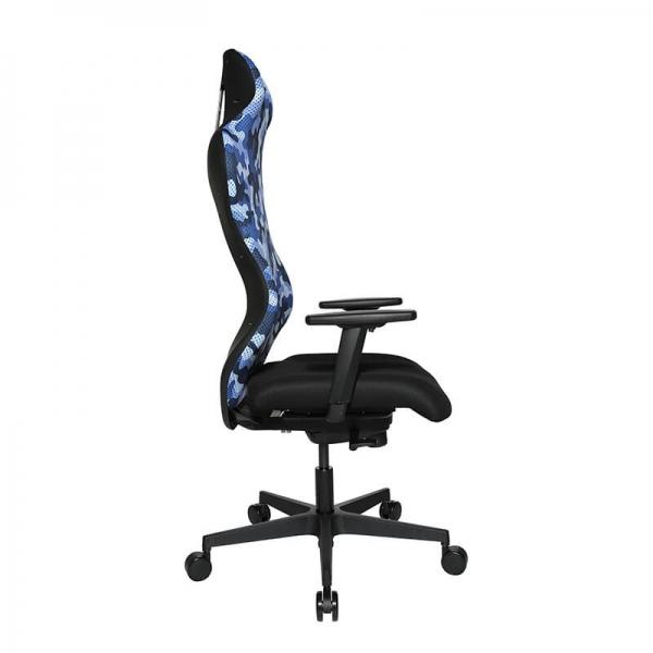 Fauteuil de bureau gamer avec dossier inclinable bleu - Sitness - 35