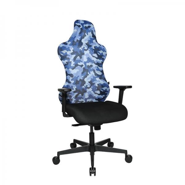 Fauteuil de bureau gaming avec dossier basculable bleu - Sitness - 36