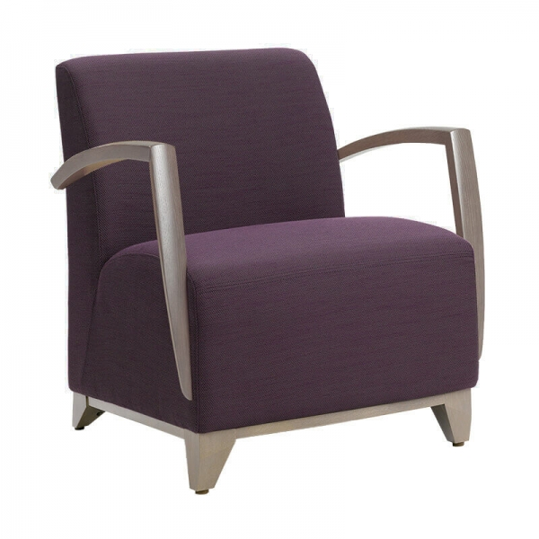Fauteuil de salon avec accoudoirs en tissu violet - Borneo - 1