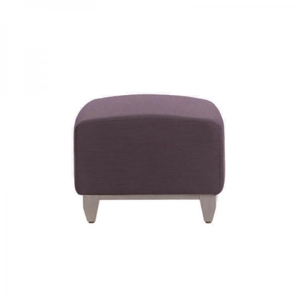 Pouf en tissu violet rembourré et pieds bois - Borneo - 1
