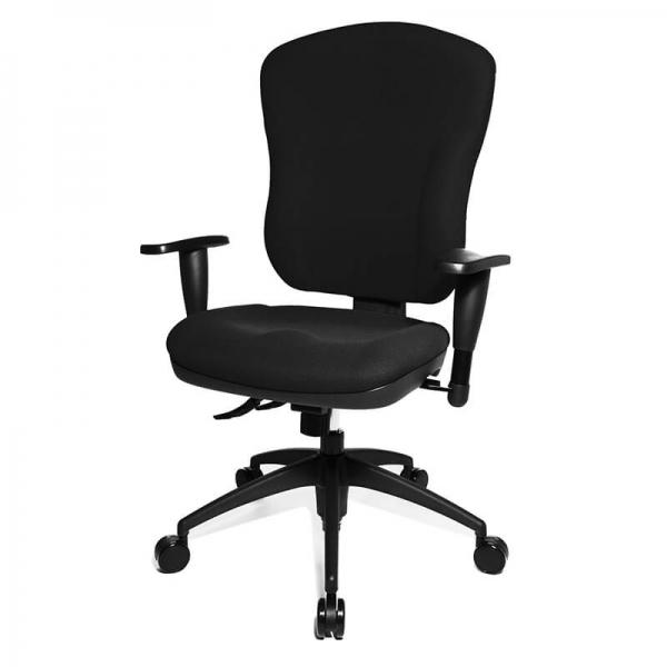 Chaise bureautique à roulettes en tissu noir - Wellpoint - 3