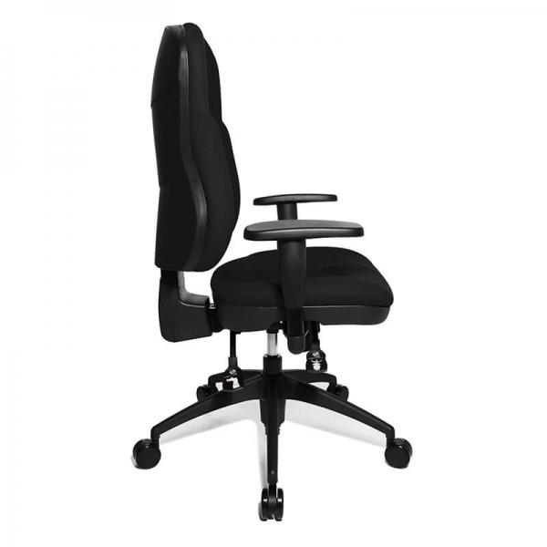 Chaise de bureau avec roulettes revêtement en tissu noir - Wellpoint - 4