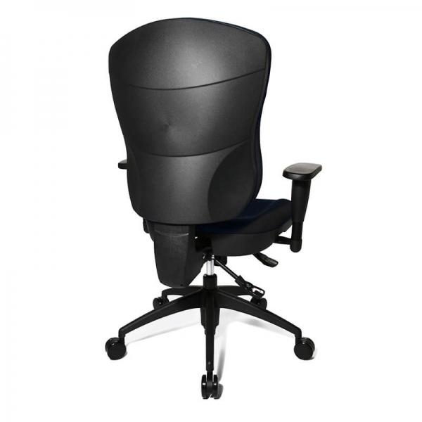 Chaise bureautique avec accoudoirs en tissu noir - Wellpoint - 5