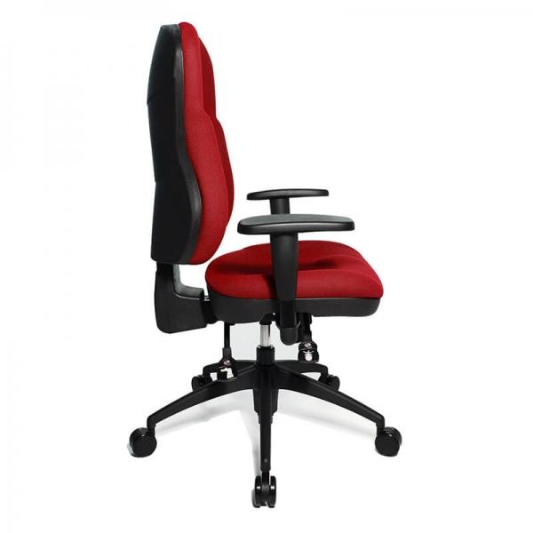 Chaise de bureau roulante en tissu rouge - Wellpoint - 12