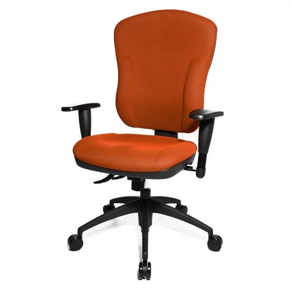 Chaise de bureau orange avec roulettes et dossier inclinable - Wellpoint - 16