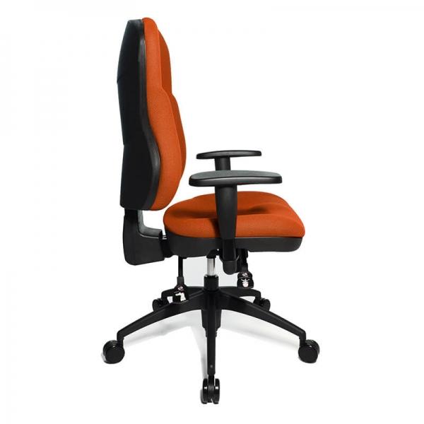 Fauteuil de bureau orange en tissu avec accoudoirs réglables - Wellpoint - 18