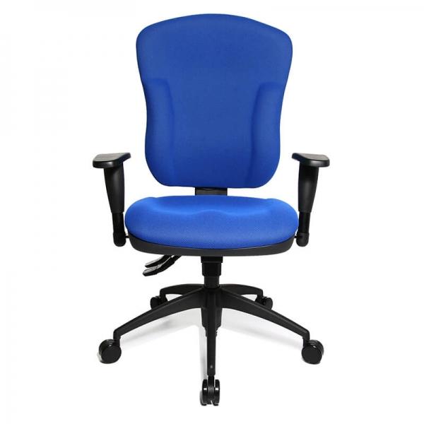 Chaise de bureau à roulettes en tissu bleu - Wellpoint - 21