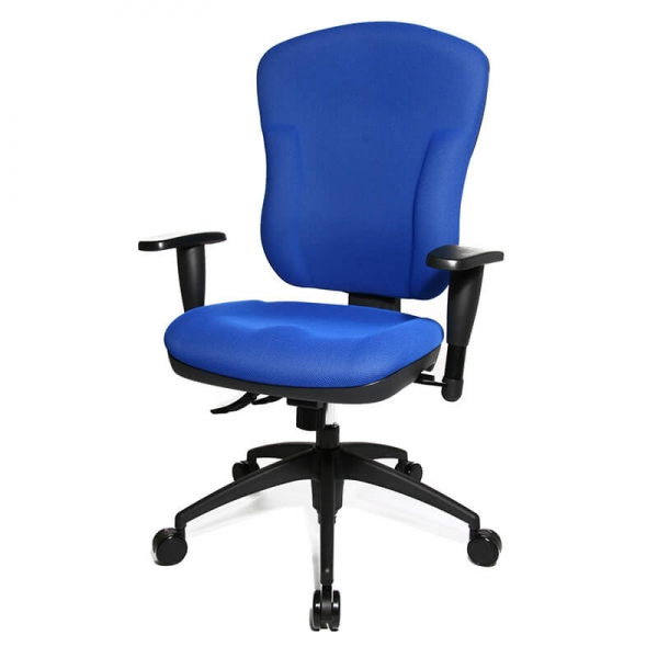 Chaise bureau bleue assise et dossier rembourrés - Wellpoint - 22