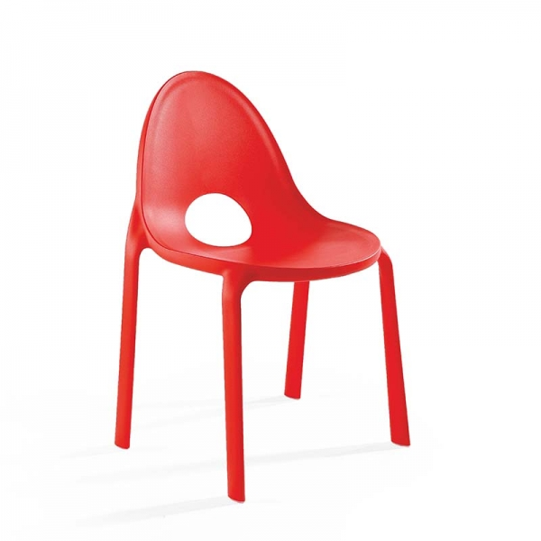 Chaise rouge design empilable en polypropylène - Drop Infiniti® - 11
