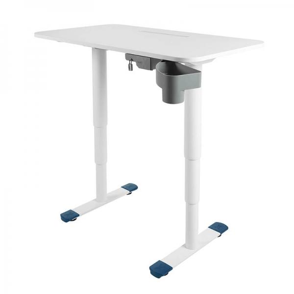 Bureau électrique réglable en hauteur blanc avec porte crayon et coffre - Sitness X - 7