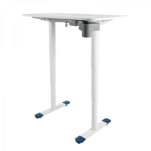 Bureau assis debout ergonomique électrique pieds bleus - Sitness X - 10