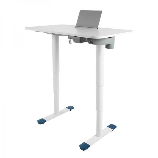 Bureau ergonomique électrique réglable blanc avec porte livre - Sitness X - 26
