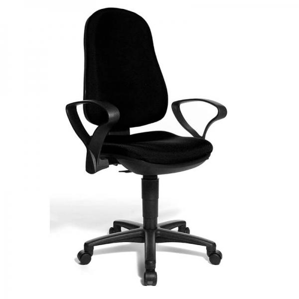 Chaise de bureau noire avec accoudoirs – Support P - 28
