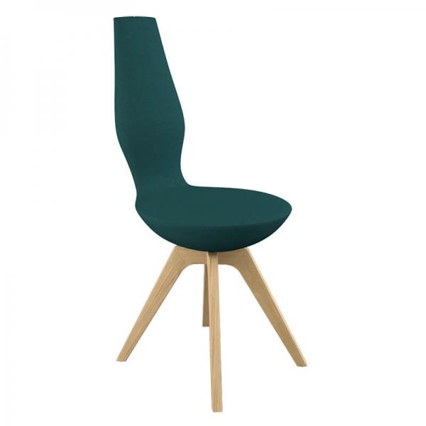 Chaise en tissu et en bois pour salle à manger design - 8