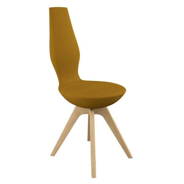 Chaise design en tissu jaune  - 10
