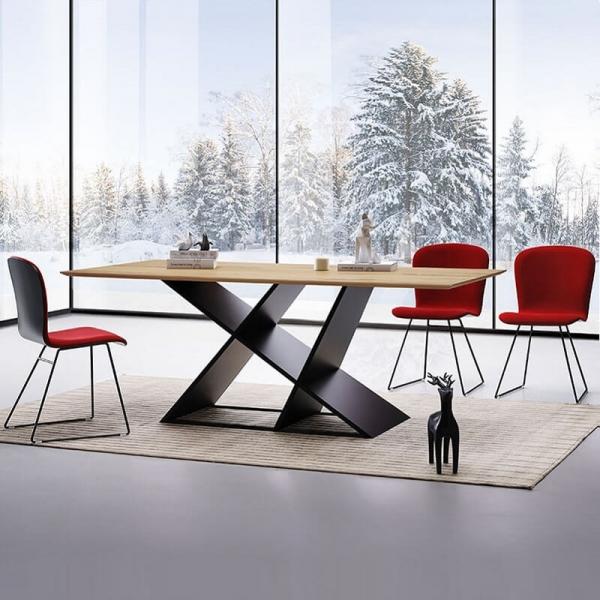 Table design rectangulaire pour salle à manger en bois - 1