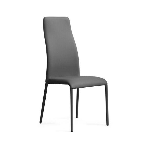 Chaise moderne de salle à manger en synthétique gris - 1