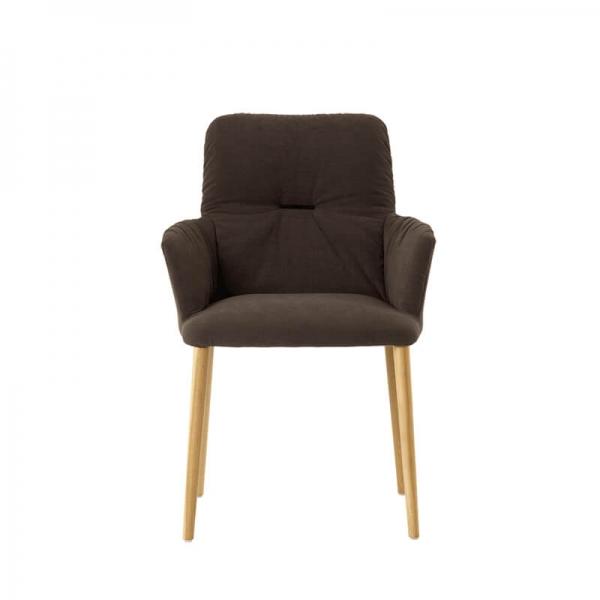Chaise style cocooning en tissu et pieds bois - Aura Mobitec® - 2