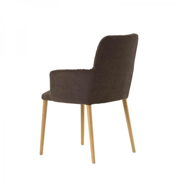 Chaise avec accoudoirs style cocooning en tissu et pieds bois - Aura Mobitec® - 4