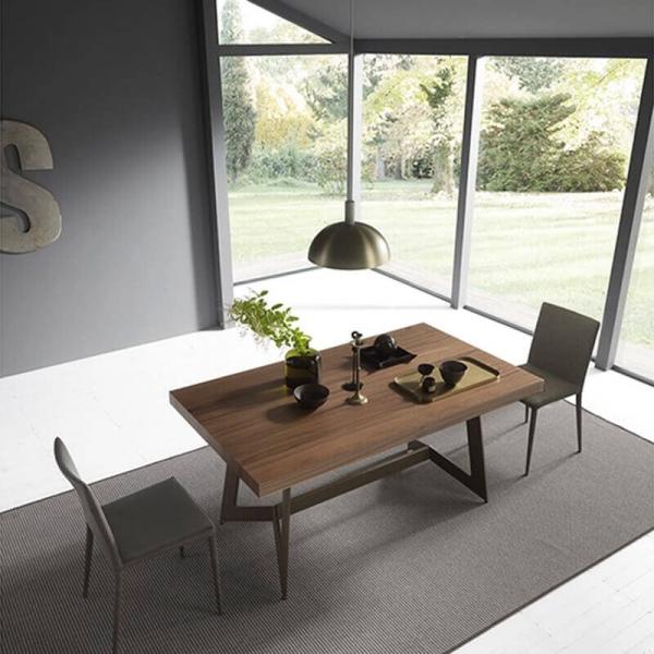 Table extensible moderne de salle à manger en bois – Sipario  - 2