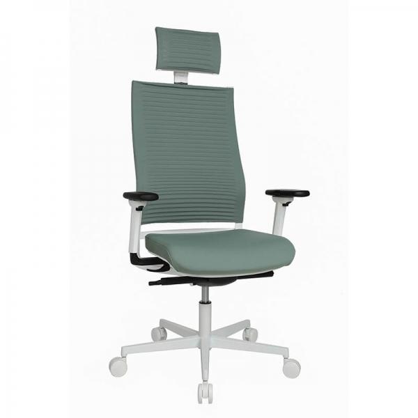 Fauteuil de bureau design réglable vert avec appui tête - Sitness Life 80 - 1