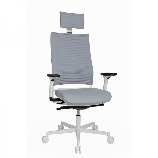 Fauteuil de bureau design réglable  gris avec appui tête - Sitness Life 80 - 6