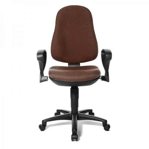 Chaise de bureau en tissu marron avec accoudoirs – Support P - 38