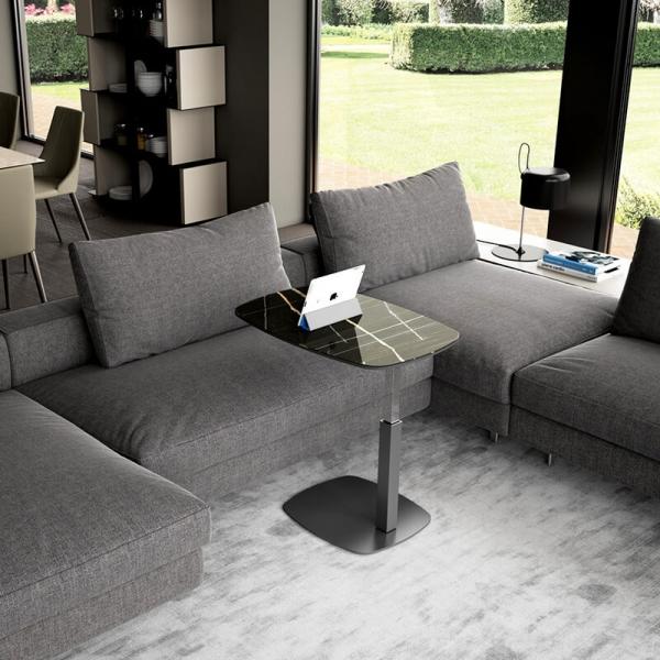 Table dinette réglable en verre marbré noir design fabrication italienne - Servus - 2