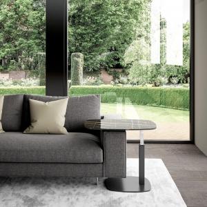 Table basse design italien réglable en hauteur verre marbré noir - Servus