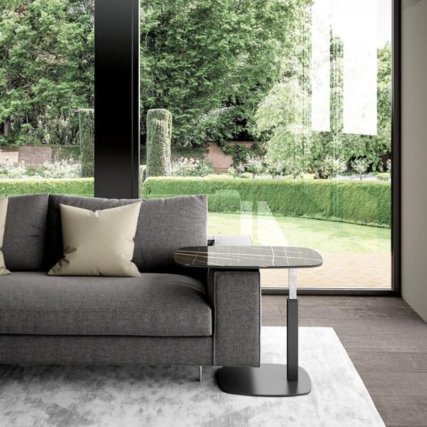 Table basse design italien réglable en hauteur verre marbré noir - Servus - 1