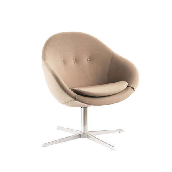 Fauteuil pivotant confortable en tissu beige design - Kokon club - 2