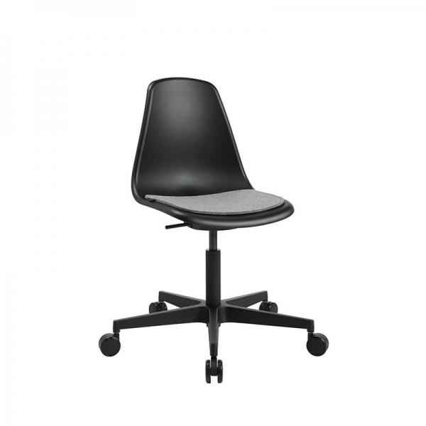 Chaise noire avec roulettes pour bureau  avec coussin gris - Sitness life 10 - 8