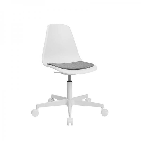Chaise avec roulettes pour bureau blanche avec coussin gris - Sitness life 10 - 18
