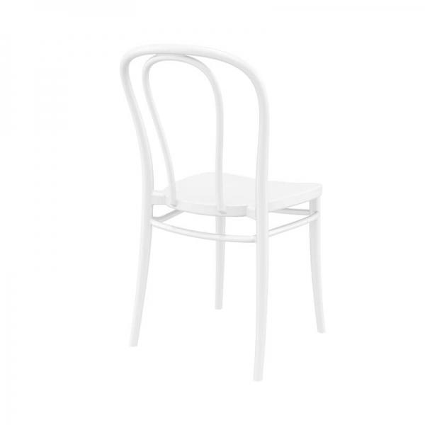 Chaise de jardin empilable style bistrot en plastique blanc - Victor - 5