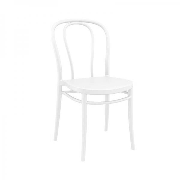 Chaise d'extérieur en plastique blanc look bistrot empilable - Victor - 7