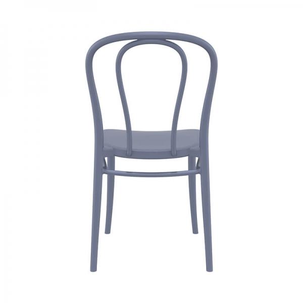 Chaise de jardin en plastique gris empilable look bistrot - Victor - 9