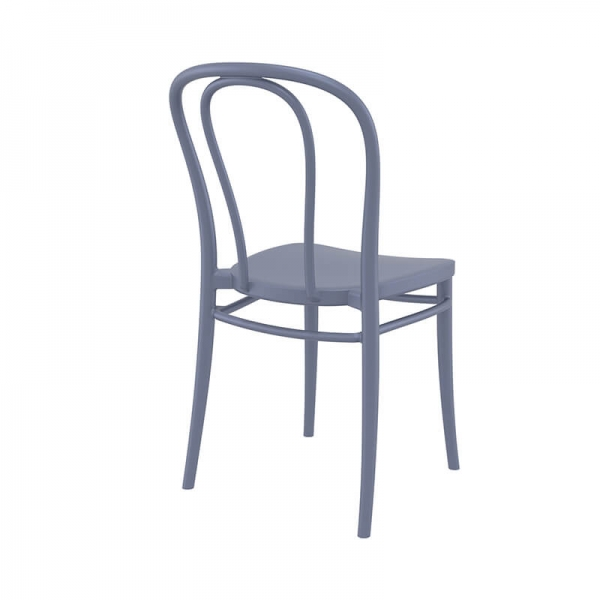 Chaise bistrot de jardin en polypropylène gris foncé - Victor - 10