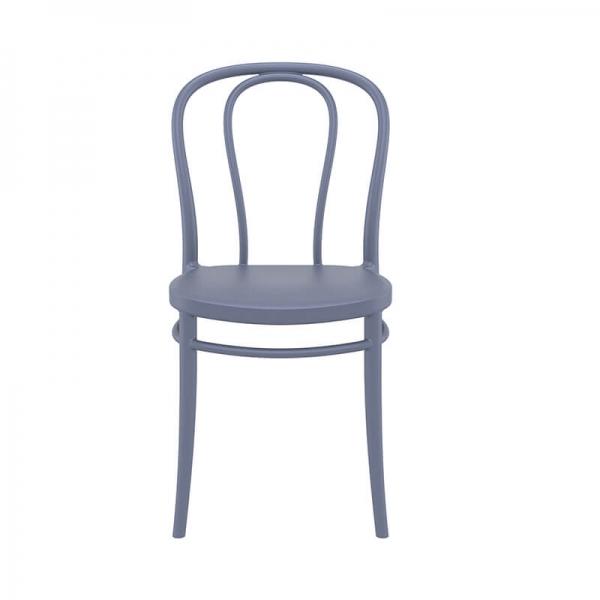 Chaise bistrot empilable en plastique gris foncé pour l'extérieur - Victor - 11