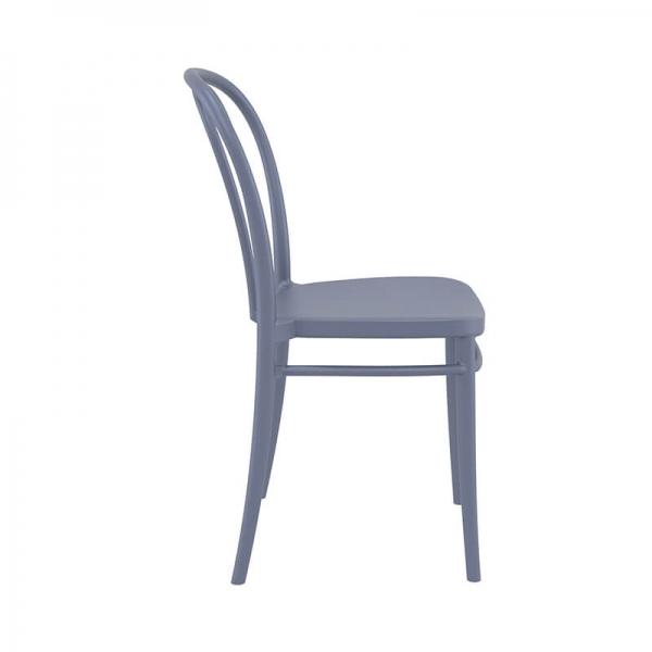 Chaise extérieur grise foncé empilable style bistrot - Victor - 13