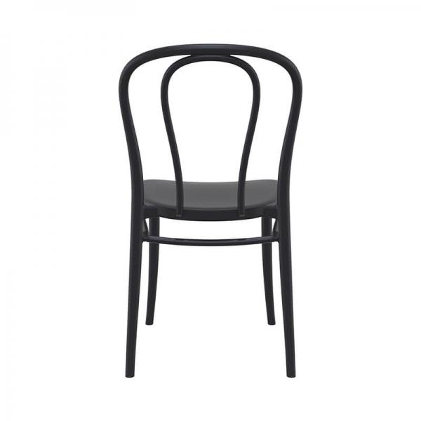Chaise d'extérieur empilable en plastique noir - Victor - 14