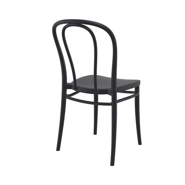 Chaise de jardin noir empilable style bistrot - Victor - 15