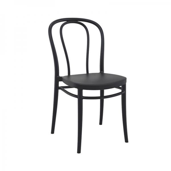 Chaise pour le jardin en plastique noir empilable - Victor - 17