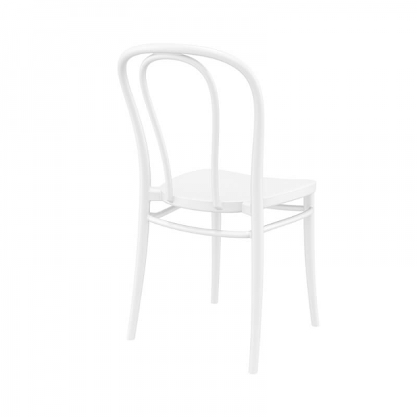 Chaise style bistrot en plastique blanc empilable - Victor - 3