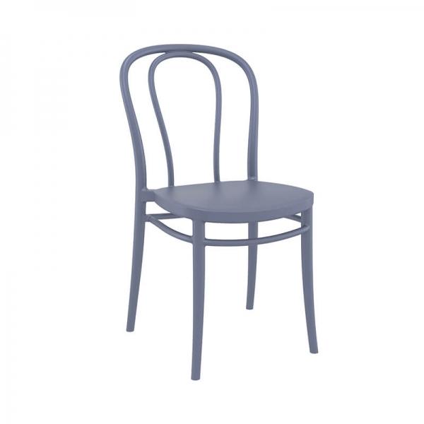 Chaise de bistrot en plastique gris empilable - Victor - 10