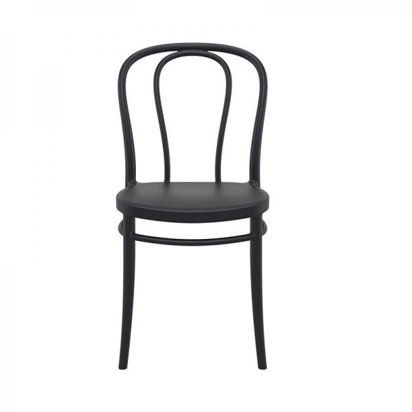 Chaise empilable noire en plastique style bistrot - Victor - 14