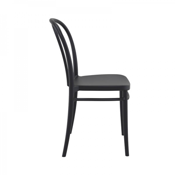 Chaise en polypropylène noir look bistrot empilable - Victor - 16