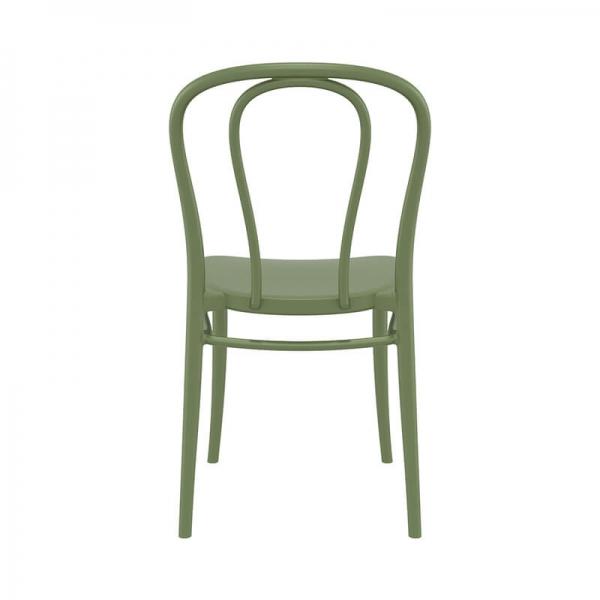 Chaise de bistrot empilable en plastique vert olive - Victor - 17