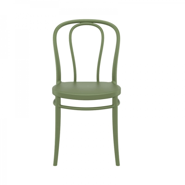 Chaise empilable verte en polypropylène - Victor - 19
