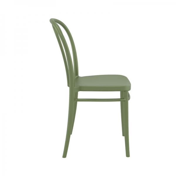 Chaise de bistrot en polypropylène vert empilable - Victor - 21