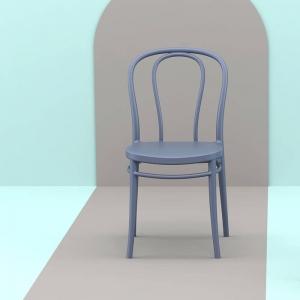 Chaise bistrot en polypropylène gris foncé empilable - Victor